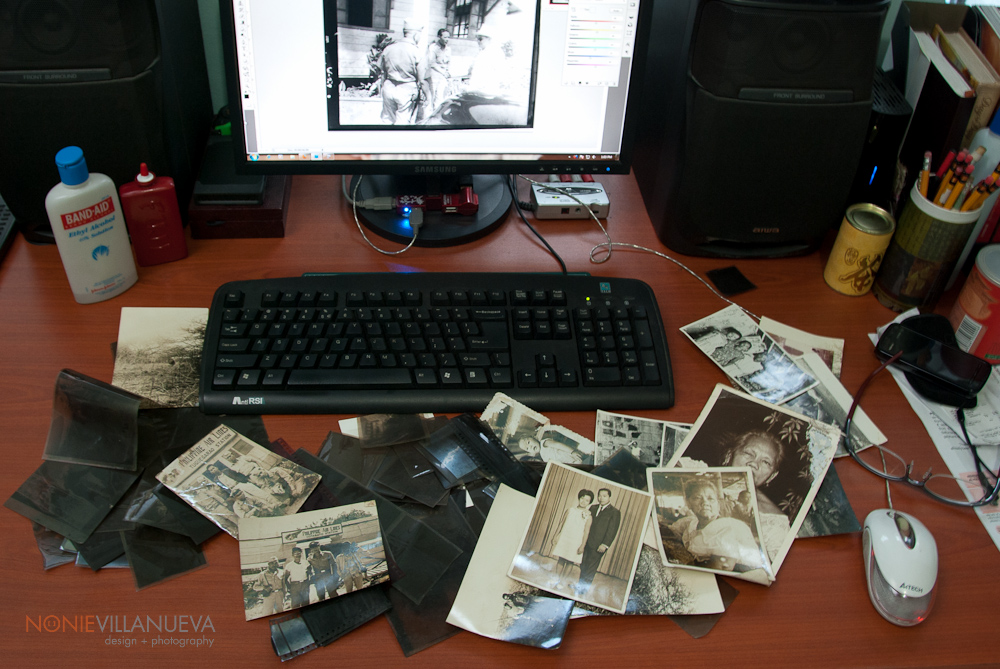 collection of old negative films and old photos